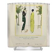 Gazette Du Bon Ton 1914   No  4  Pl  36  La Matinee De Printemps  Costumes Tailleur De Doucet  J  M Shower Curtain