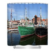 Gdansk Old Town Skyline From The Harbour Shower Curtain