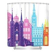 Gdansk Skyline Pop Shower Curtain