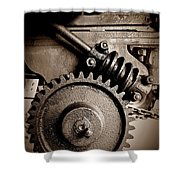 Gear In Sepia Shower Curtain
