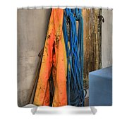 Gear On The Salmon Boat Shower Curtain