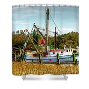 Geechie Seafood Shrimp Boats Shower Curtain