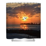 Geese At Sunset Shower Curtain
