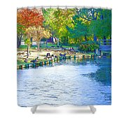 Geese In Pond 2 Shower Curtain