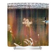 Geese Lake Fall Shower Curtain