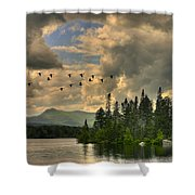 Geese Over Jericho Lake Shower Curtain