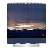 Geese Over The Cascades Shower Curtain
