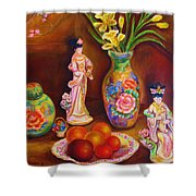 Geisha Dolls Shower Curtain