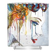 Geisha Soul Watercolor Painting Shower Curtain