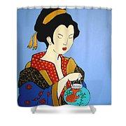 Geisha With Fish Shower Curtain