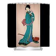Geisha With Guitar Shower Curtain