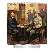 General Grant Meets Robert E Lee  Shower Curtain by English School