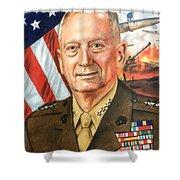 General Mattis Portrait Shower Curtain