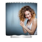 Geniue Portrait Of A Young Positive, Smiling Girl. Shower Curtain