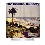 Genoa And The Italian Rivera Vintage Poster Restored Shower Curtain