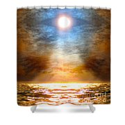 Gentle Mantra Om Light Glowing Into The Sea Shower Curtain