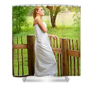 Gentle Woman Standing On The Porch  Shower Curtain