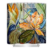 Geo Day Lilies Shower Curtain