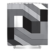Geoblock55bnw Shower Curtain
