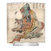 Geological Map Of England And Wales - Historical Relief Map - Antique Map - Historical Atlas Shower Curtain