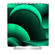Geometric Abstract In Green Shower Curtain