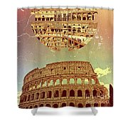 Geometric Colosseum Rome Italy Historical Monument Shower Curtain