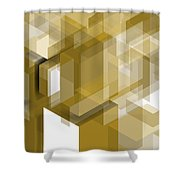 Geometric Gold Composition Shower Curtain