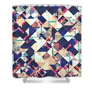 Geometric Grunge Pattern Shower Curtain