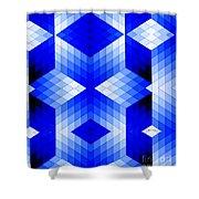 Geometric In Blue Shower Curtain