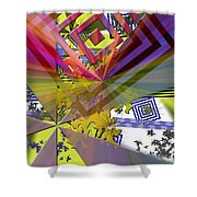 Geometric Rays Happiness Shower Curtain