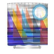 Geometric Sailing Shower Curtain