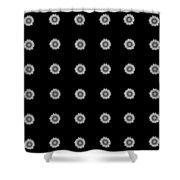 Geometric Sunflowers Black White Shower Curtain