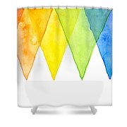 Geometric Watercolor Pattern Rainbow Triangles Shower Curtain