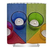 Geometrical Shapes, Colours And Candles Shower Curtain
