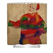 George Constanza Of Seinfeld Watercolor Portrait Shower Curtain