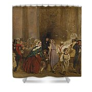 George Elgar Hicks   Sketch Of The General Post Office  One Minute To Six  1860 Shower Curtain