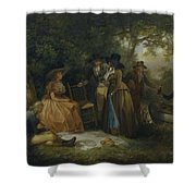 George Morland   The Anglers  Repast Shower Curtain