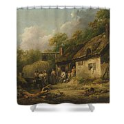 George Morland  The Bell Inn Shower Curtain