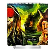 George Washington And Abraham Lincoln The Pirates Shower Curtain