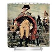George Washington At Dorchester Heights Shower Curtain by Emanuel Gottlieb Leutze