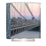 George Washington Bridge And Lighthouse I Shower Curtain