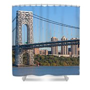 George Washington Bridge And Lighthouse II Shower Curtain