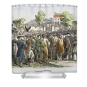 George Whitefield /n(1714-1770). English Evangelist, Preaching To A Crowd: Engraving, 19th Century Shower Curtain