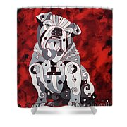 Georgia Bull Dog Shower Curtain