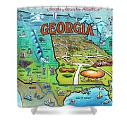 Georgia Usa Cartoon Map Shower Curtain