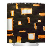 Geosequence In Black And Copper Shower Curtain