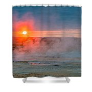 Geothermal Sunrise Shower Curtain