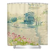 Geraniums By The Lake Shower Curtain