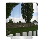 German Bunker At Tyne Cot Cemetery Shower Curtain