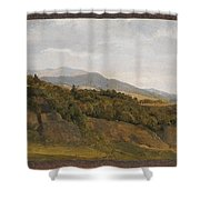German Landscape With View Towards A Broad Valley , Fritz Petzholdt Shower Curtain